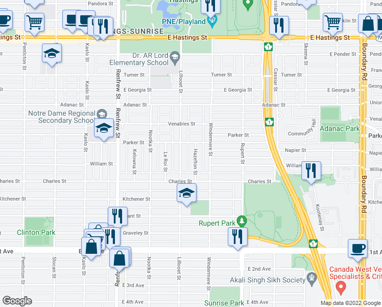 map of restaurants, bars, coffee shops, grocery stores, and more near 1095 Hazelton Street in Vancouver