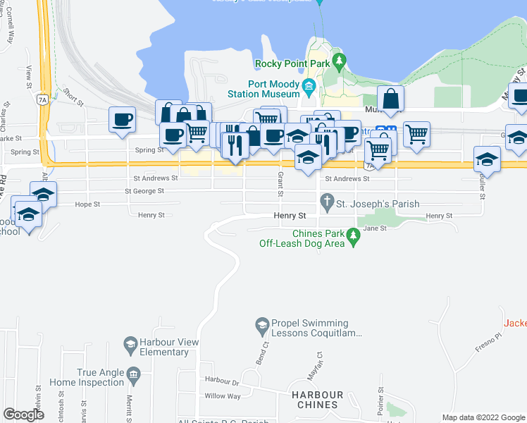 map of restaurants, bars, coffee shops, grocery stores, and more near 2614 Henry Street in Port Moody