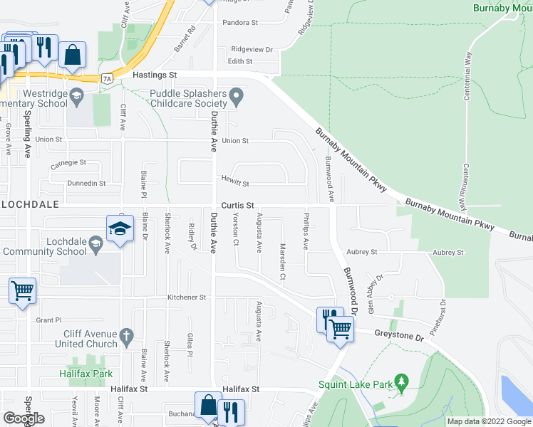 map of restaurants, bars, coffee shops, grocery stores, and more near 7320 Curtis Street in Burnaby
