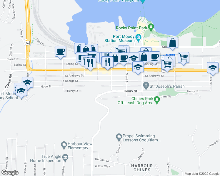 map of restaurants, bars, coffee shops, grocery stores, and more near 195 Mary Street in Port Moody