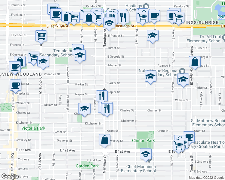 map of restaurants, bars, coffee shops, grocery stores, and more near 2459 Napier Street in Vancouver