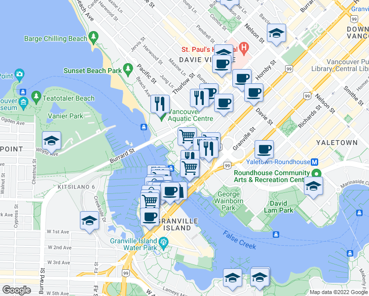 map of restaurants, bars, coffee shops, grocery stores, and more near 910 Beach Avenue in Vancouver
