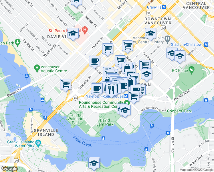 map of restaurants, bars, coffee shops, grocery stores, and more near 1227 Richards Street in Vancouver