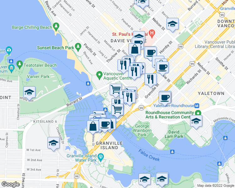 map of restaurants, bars, coffee shops, grocery stores, and more near 1487 Hornby Street in Vancouver