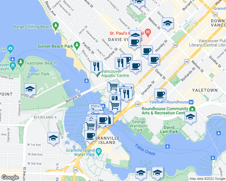 map of restaurants, bars, coffee shops, grocery stores, and more near 903 Beach Avenue in Vancouver