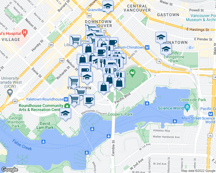 map of restaurants, bars, coffee shops, grocery stores, and more near 92 Smithe Street in Vancouver
