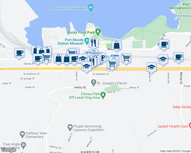 map of restaurants, bars, coffee shops, grocery stores, and more near 2808 Saint George Street in Port Moody