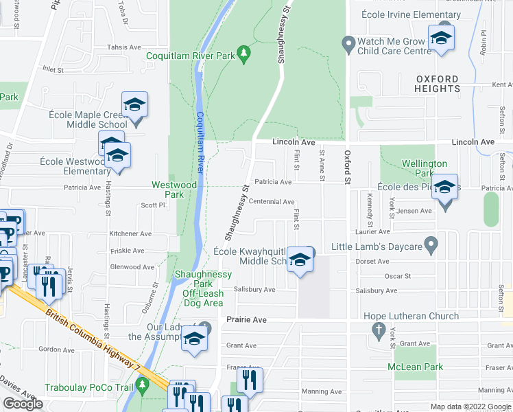 map of restaurants, bars, coffee shops, grocery stores, and more near 2174 Centennial Avenue in Port Coquitlam