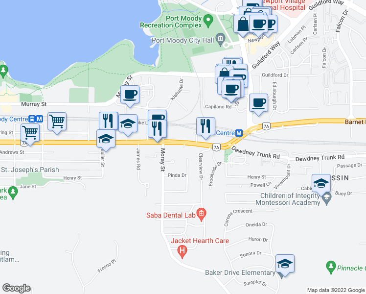 map of restaurants, bars, coffee shops, grocery stores, and more near 3229 Saint Johns Street in Port Moody