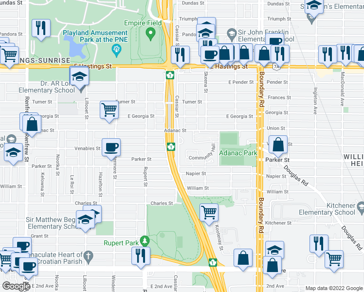 map of restaurants, bars, coffee shops, grocery stores, and more near 3426 Terra Vita Place in Vancouver
