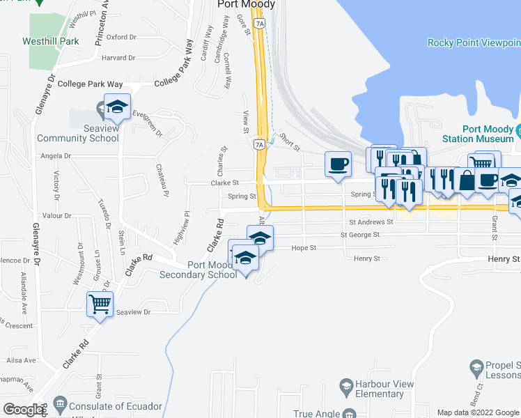 map of restaurants, bars, coffee shops, grocery stores, and more near 3260 St Johns St in Port Moody