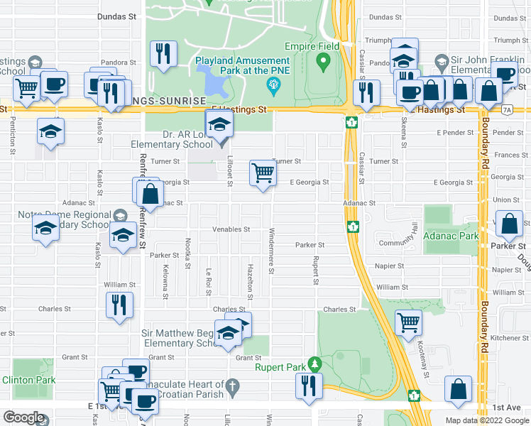 map of restaurants, bars, coffee shops, grocery stores, and more near 817 Windermere Street in Vancouver