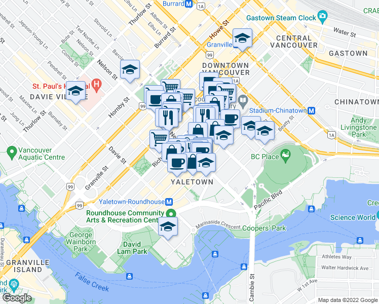 map of restaurants, bars, coffee shops, grocery stores, and more near 949 Homer Street in Vancouver