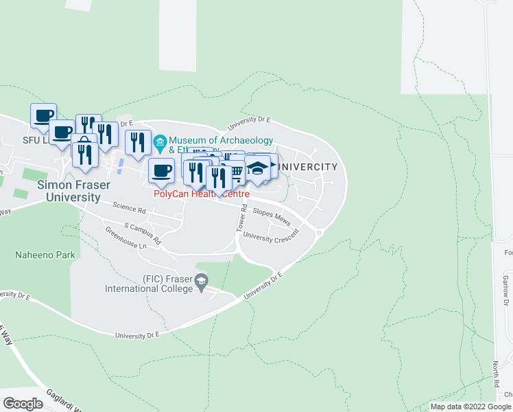 map of restaurants, bars, coffee shops, grocery stores, and more near 9150 University High Street in Burnaby