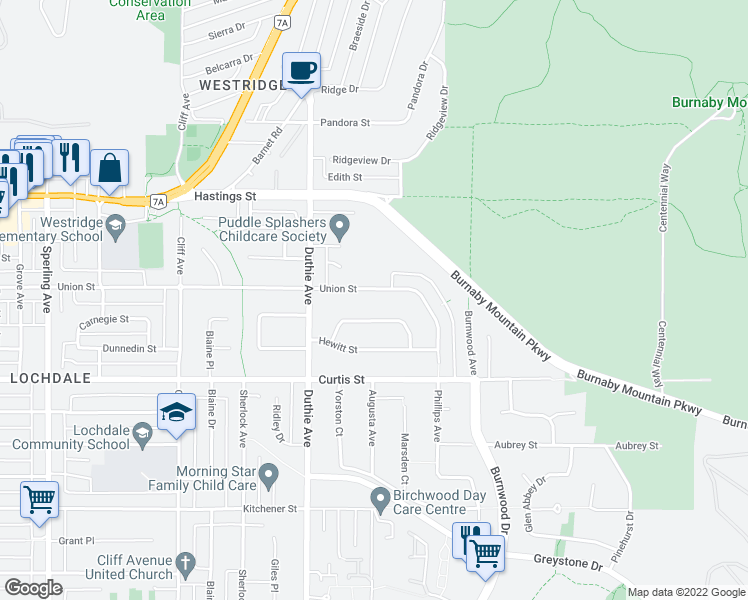 map of restaurants, bars, coffee shops, grocery stores, and more near 7310 Union Street in Burnaby