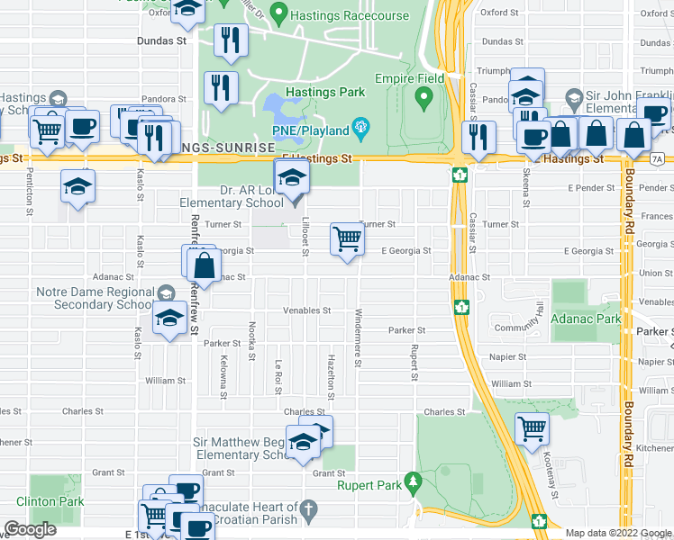 map of restaurants, bars, coffee shops, grocery stores, and more near 3161 Adanac Street in Vancouver