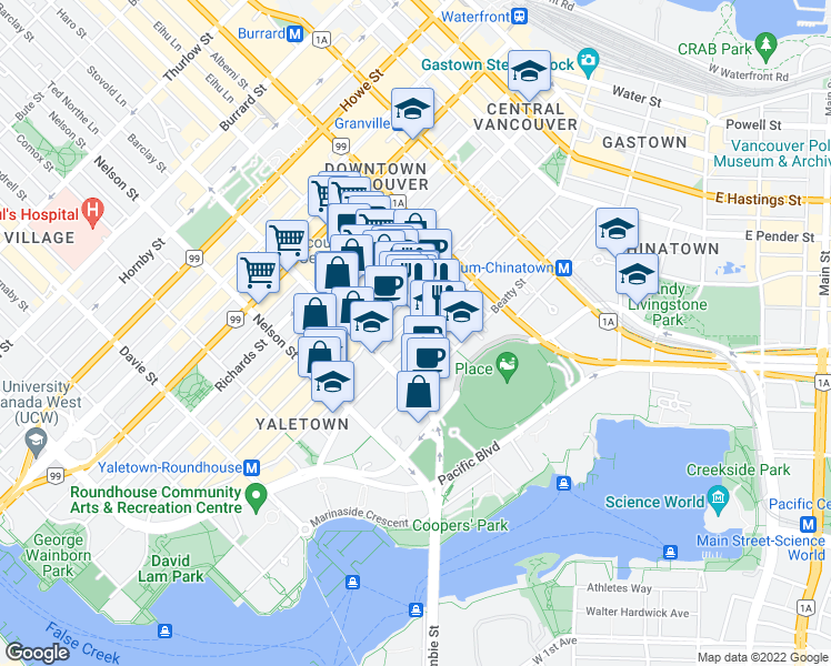 map of restaurants, bars, coffee shops, grocery stores, and more near 821 Cambie Street in Vancouver