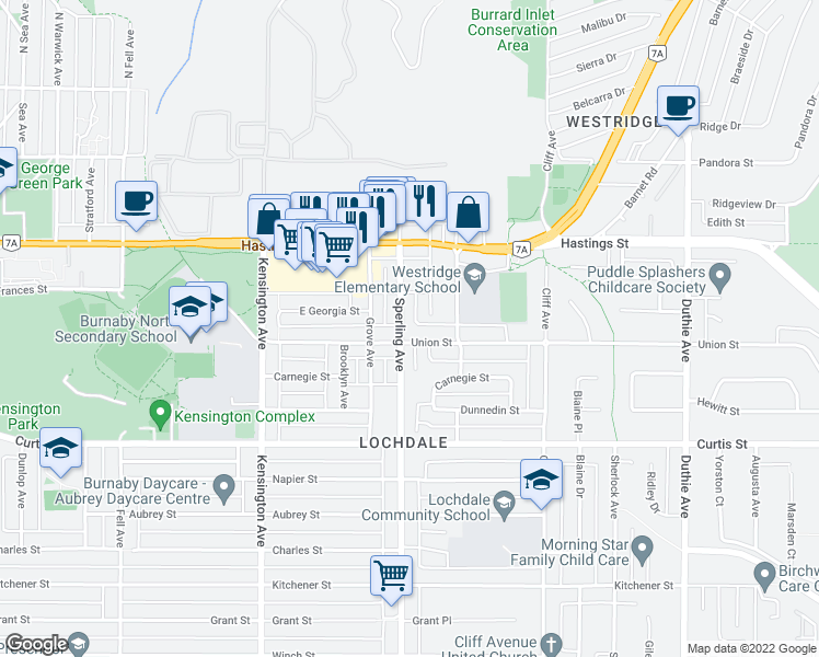 map of restaurants, bars, coffee shops, grocery stores, and more near 720 Sperling Avenue in Burnaby