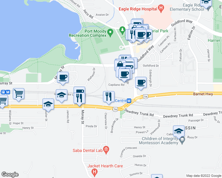 map of restaurants, bars, coffee shops, grocery stores, and more near 301 Capilano Road in Port Moody