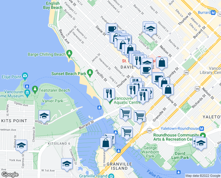 map of restaurants, bars, coffee shops, grocery stores, and more near 1106 Pacific Street in Vancouver