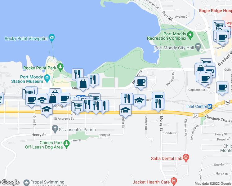 map of restaurants, bars, coffee shops, grocery stores, and more near 50 Electronic Avenue in Port Moody