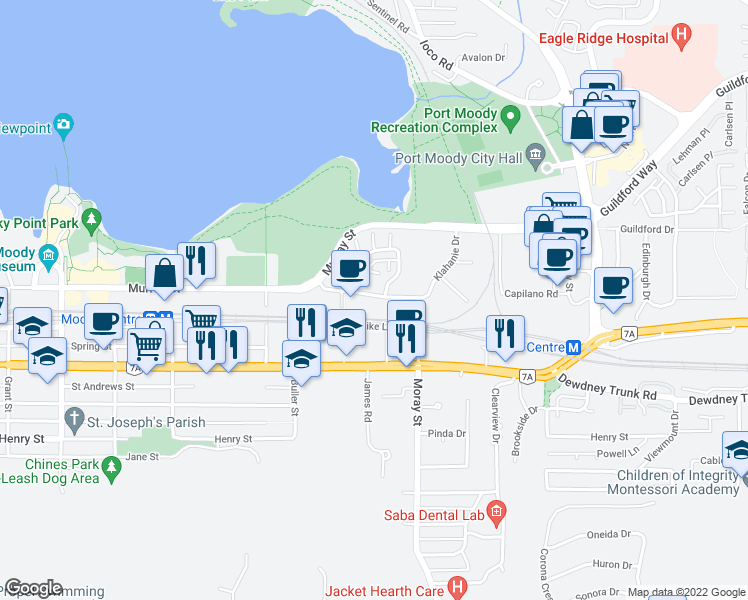 map of restaurants, bars, coffee shops, grocery stores, and more near 2 Klahanie Drive in Port Moody