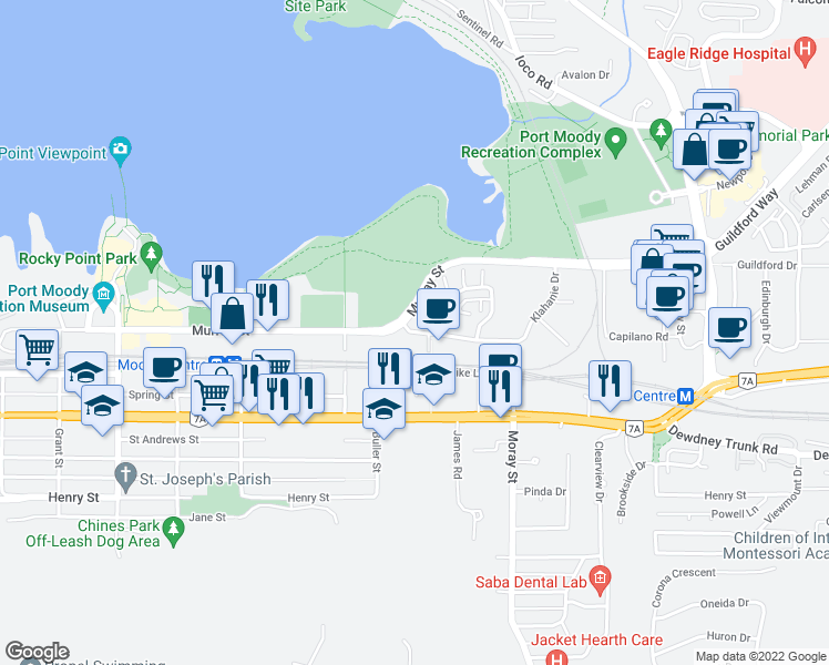 map of restaurants, bars, coffee shops, grocery stores, and more near 100 Klahanie Drive in Port Moody