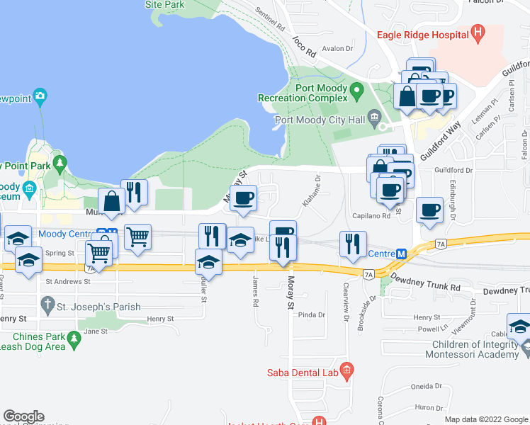 map of restaurants, bars, coffee shops, grocery stores, and more near 200 Klahanie Drive in Port Moody