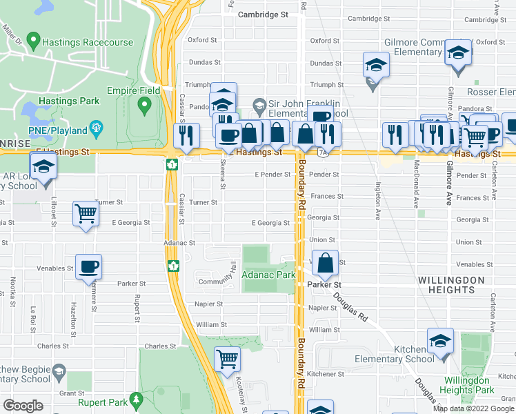 map of restaurants, bars, coffee shops, grocery stores, and more near 3592 Turner Street in Vancouver
