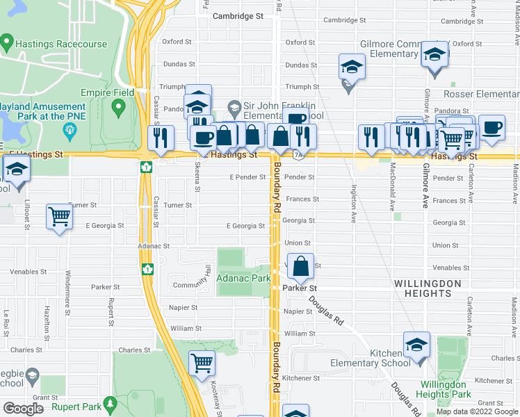 map of restaurants, bars, coffee shops, grocery stores, and more near 3658 Turner Street in Vancouver