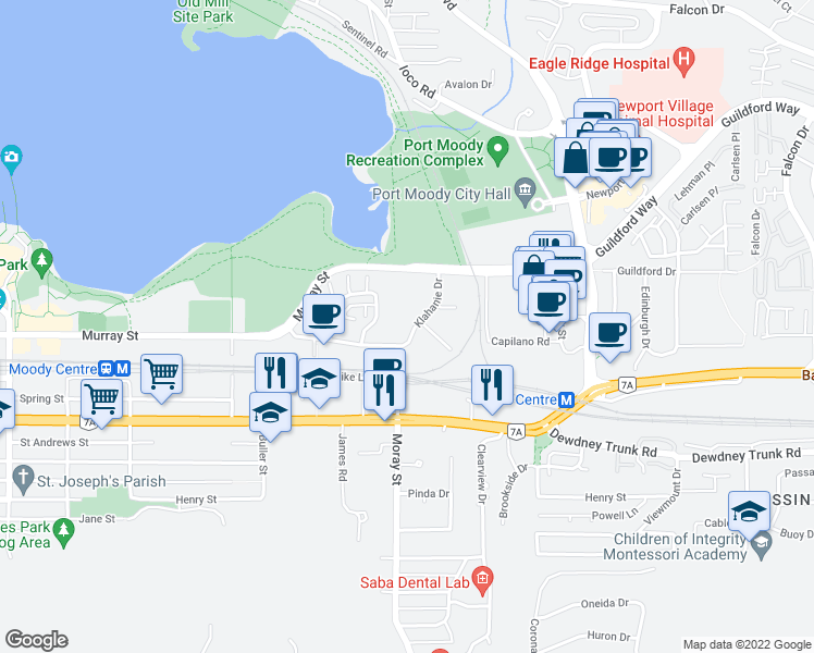 map of restaurants, bars, coffee shops, grocery stores, and more near 600 Klahanie Drive in Port Moody