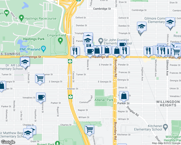 map of restaurants, bars, coffee shops, grocery stores, and more near 3511 Turner Street in Vancouver