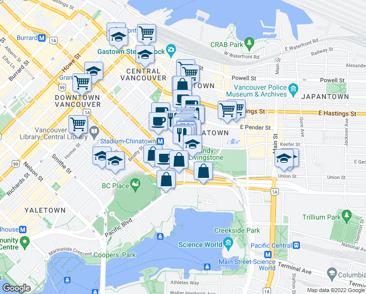 map of restaurants, bars, coffee shops, grocery stores, and more near 633 Abbott Street in Vancouver