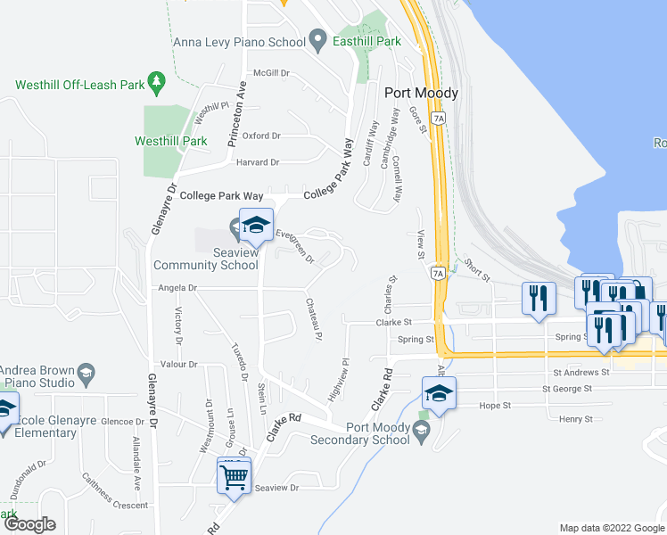 map of restaurants, bars, coffee shops, grocery stores, and more near 331 Evergreen Drive in Port Moody