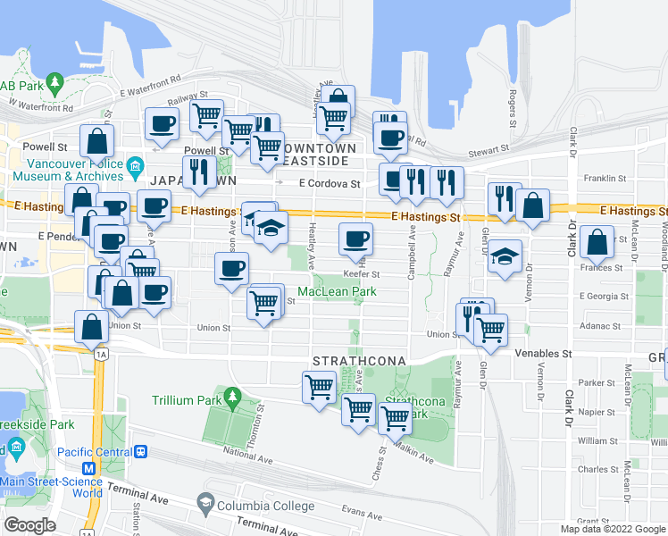 map of restaurants, bars, coffee shops, grocery stores, and more near 743 Keefer Street in Vancouver