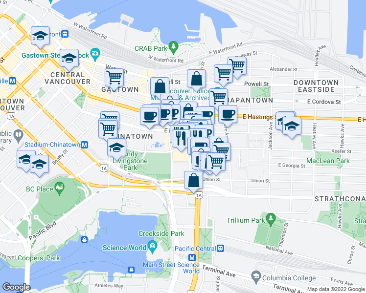 map of restaurants, bars, coffee shops, grocery stores, and more near 105 Keefer Street in Vancouver