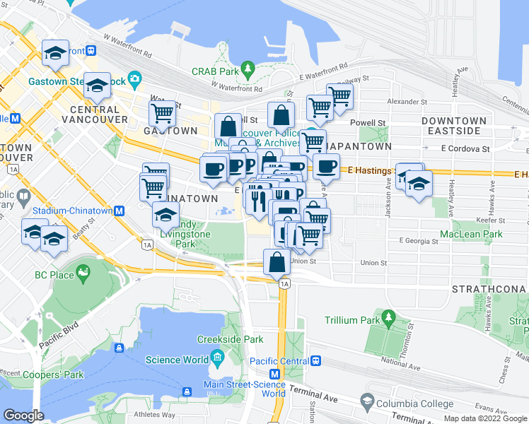 map of restaurants, bars, coffee shops, grocery stores, and more near 135-137 Keefer Street in Vancouver