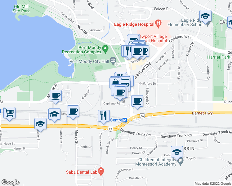 map of restaurants, bars, coffee shops, grocery stores, and more near 101 Morrissey Road in Port Moody