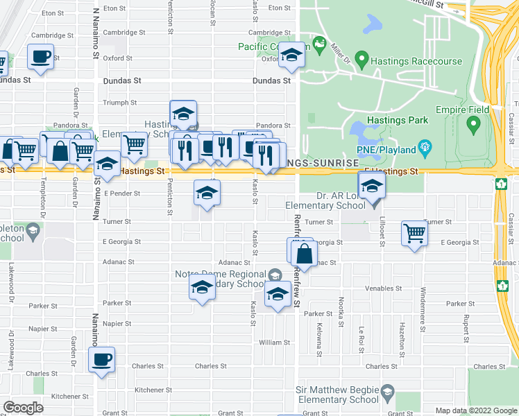 map of restaurants, bars, coffee shops, grocery stores, and more near 530 Kaslo Street in Vancouver