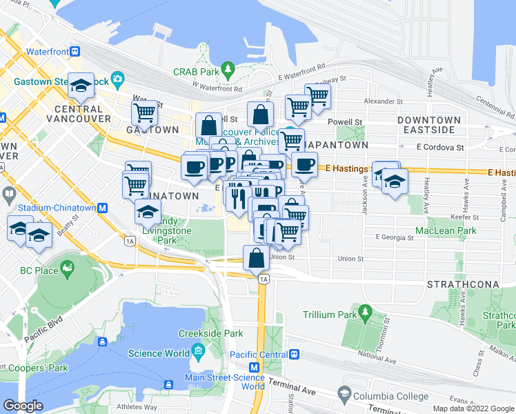 map of restaurants, bars, coffee shops, grocery stores, and more near 189 Keefer Street in Vancouver