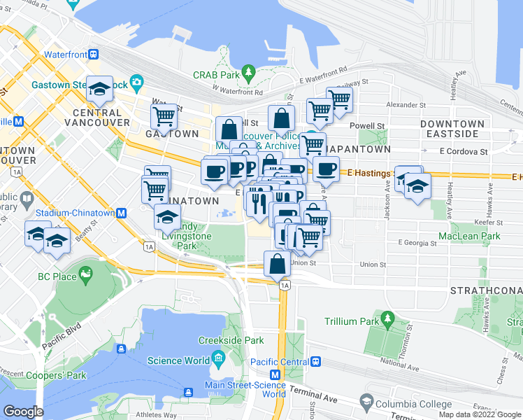 map of restaurants, bars, coffee shops, grocery stores, and more near 137 Keefer Street in Vancouver