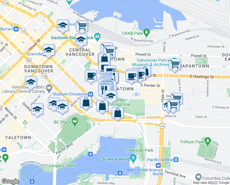 map of restaurants, bars, coffee shops, grocery stores, and more near 63 Keefer Place in Vancouver