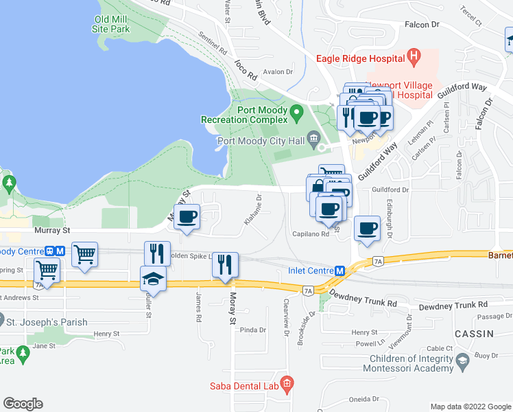 map of restaurants, bars, coffee shops, grocery stores, and more near 700 Klahanie Drive in Port Moody