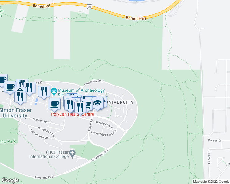 map of restaurants, bars, coffee shops, grocery stores, and more near 9222 University Crescent in Burnaby