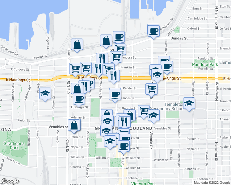 map of restaurants, bars, coffee shops, grocery stores, and more near 517 Commercial Drive in Vancouver