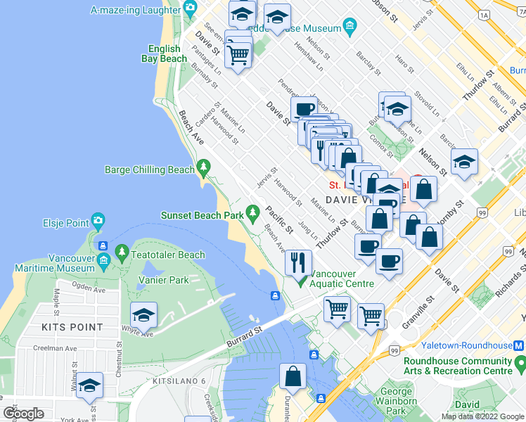 map of restaurants, bars, coffee shops, grocery stores, and more near 1233 Beach Avenue in Vancouver