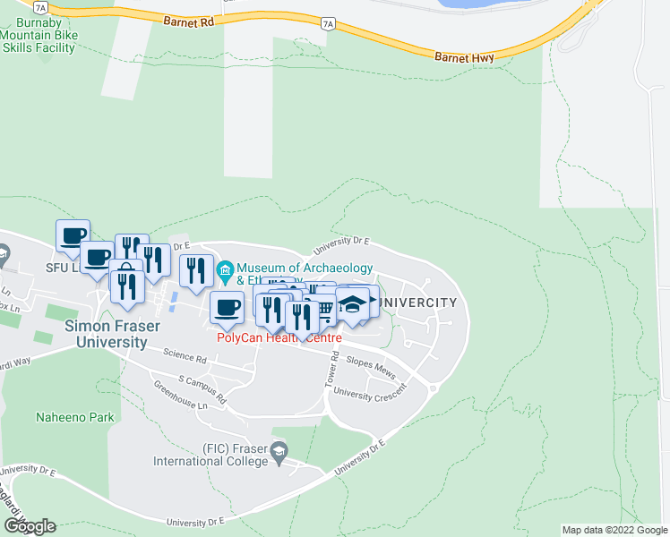 map of restaurants, bars, coffee shops, grocery stores, and more near 8725 University Crescent in Burnaby