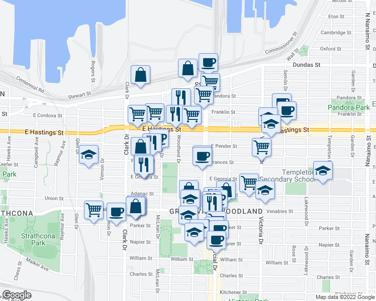 map of restaurants, bars, coffee shops, grocery stores, and more near 1632 East Pender Street in Vancouver