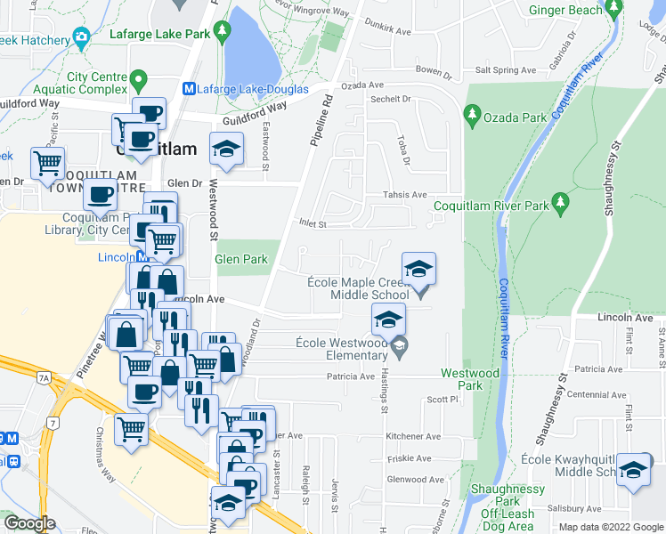 map of restaurants, bars, coffee shops, grocery stores, and more near 3107 Windsor Gate in Coquitlam