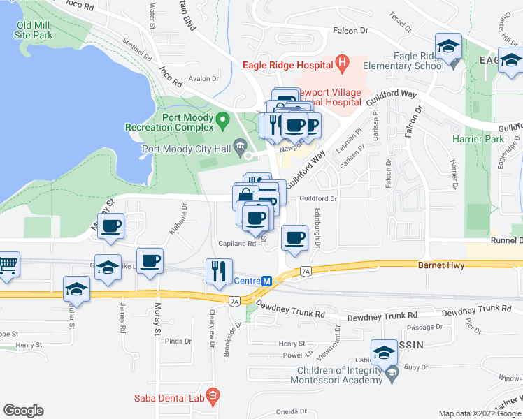 map of restaurants, bars, coffee shops, grocery stores, and more near 110 Brew Street in Port Moody